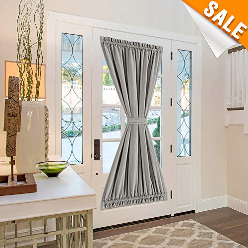 Lazzzy Door Curtains 72 Inches Long Linen Textured with Tieback Privacy Room Darkening French Door Panel 1 Panel Grey
