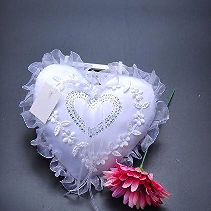 Arco en forma corazón novia flores niña Punta Anillo Cojín boda Decoración (17 cm *