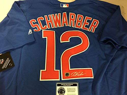 Kyle Schwarber Autographed Signed Authentic Majestic Blue Chicago Cubs Jersey Certified Authentic Hologram & Coa Card Chicago Cubs Autographed Majestic Jersey