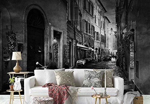 Photo wallpaper wall mural - Cobble Narrow Street Facades Vespa - Theme Travel & Maps - L - 8ft 4in x 6ft (WxH) - 2 Pieces - Printed on 130gsm Non-Woven Paper - 1X-1154397V4 by Fotowalls Photo Wallpaper Murals