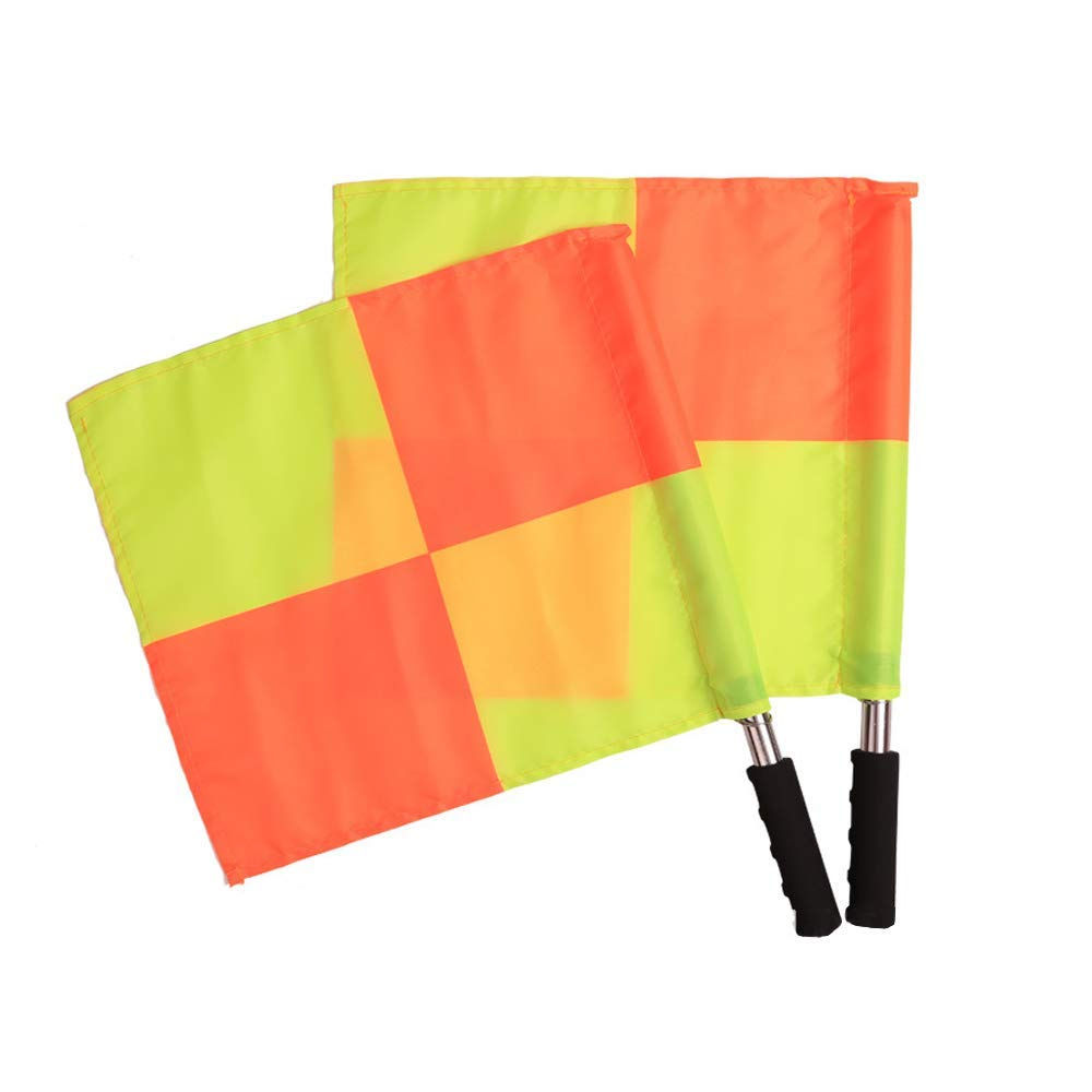 Caifede 2pcs Soccer Football Referee Flags Metal Pole Foam Handle with Tote pack by Caifede