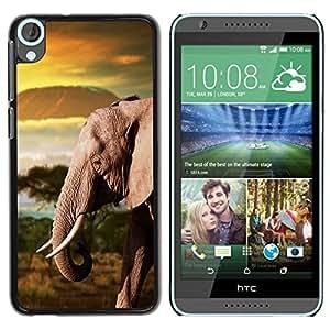Be Good Phone Accessory // Dura Cáscara cubierta Protectora Caso Carcasa Funda de Protección para HTC Desire 820 // Trunk Elephant Africa Mountains Plain