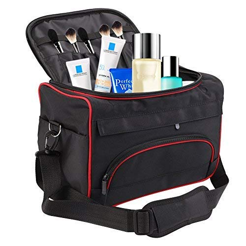 Makeup Travel Bag, Multi-function Portable Hair Dressing Storage Bags Large Capacity Hair Stylist Cosmetic Organizer with Shoulder Strap Sonew