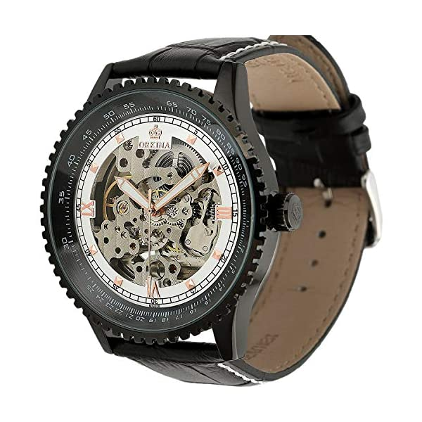 Carrie Hughes Men's Luminous Hands Steampunk Skeleton Automatic Mechanical Stainless Steel Leather Watch 5