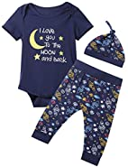 Okbebe Baby Boys 3PCS Outfit Set Space Ship To The Moon and Back Romper Long Pants With Hat
