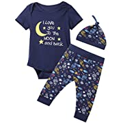 Baby Boys 3PCS Outfit Set To The Moon and Back Romper Long Pants with Hat (0-3 Months)