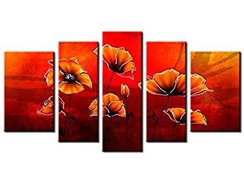Tableau Triptyque Fleur Coquelicot Top Vente 1a 2024hx6w R Amazon