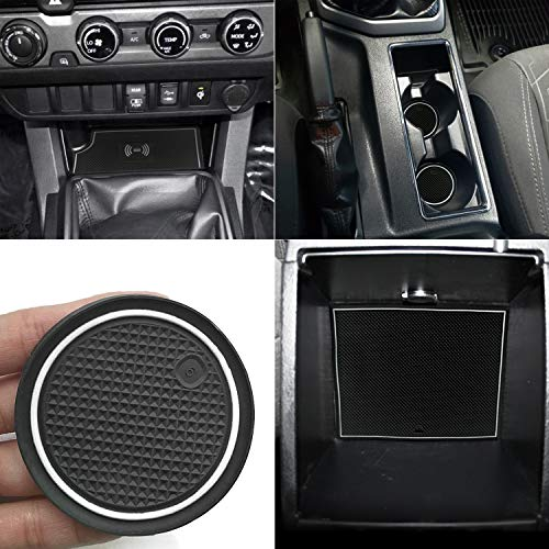 Auovo Anti-dustCustomFitCup Pads DoorLiners CenterConsoleMatsAccessoriesforToyotaTacoma2016 2017 2018 2019Double Cab Full 4 Doors (White, Manual Transmission-with The QI Charger Model)