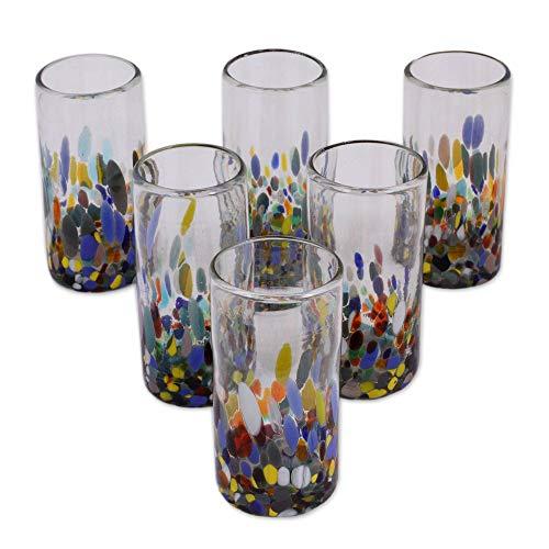 NOVICA Multicolor Eco-Friendly Hand Blown Glass Highball Glasses, 'Confetti Festival' (set of ()
