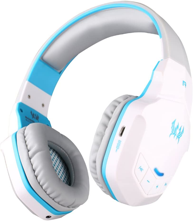 Gaming Headset Bluetooth Wireless PC Headphone Built-in Microphone with 50mm HIFI Audio Compatible with Smart-phone Android Tablets Computer Laptops etc (White&blue)