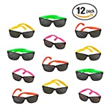 12 Pack 80's Style Neon Party Sunglasses - Fun Gift, Party Favors, Party Toys, Goody Bag Favors