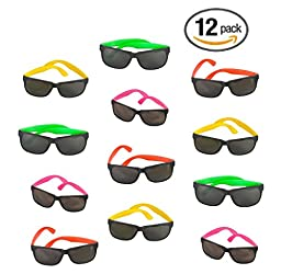 12 Pack 80\'s Style Neon Party Sunglasses - Fun Gift, Party Favors, Party Toys, Goody Bag Favors