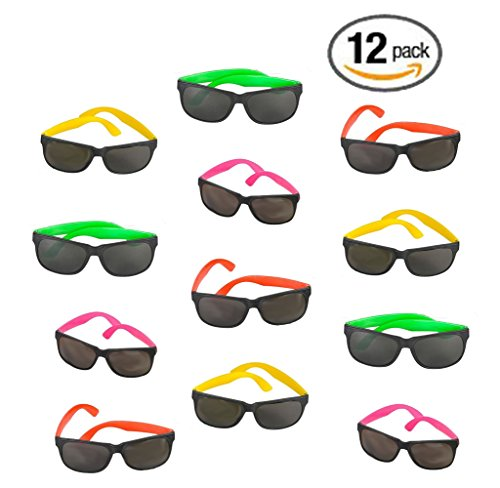 12 Pack 80's Style Neon Party Sunglasses - Fun Gift, Party Favors, Party Toys, Goody Bag Favors (Halloween Birthday Bash Invitations)
