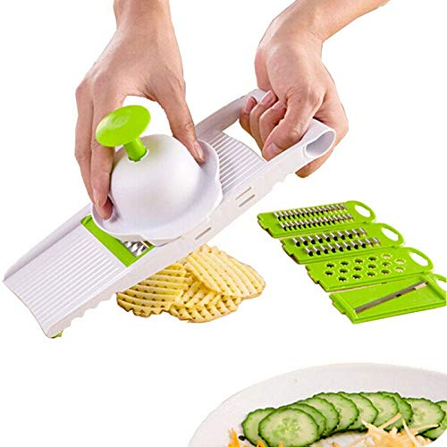 (Slicer Kitchen - Peeler Grater Vegetables Cutter With 5 Stainless Steel Blade Carrot Onion Slicer - Industrial Round Prestige Austria Bowl Onion Machine Held Slicers Cutters Tool Professional Cle)