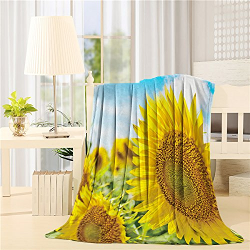 Flannel Fleece Bed Blanket 40 x 50 inch Throw Blanket Lightweight Cozy Plush Blanket for Bedroom Living Rooms Sofa Couch - Blue Sky Yellow Sunflower