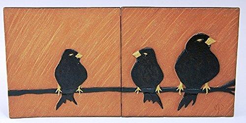 MJ Wilkinson Pottery ''The Party Line'' Stoneware Art Wall Tile (Wall Tile Raku)
