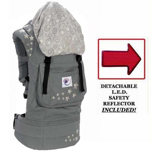 Ergo Baby BC2EPK1 Galaxy Grey Baby Carrier with Galaxy Lining And LED Safety Reflector Light, Baby & Kids Zone