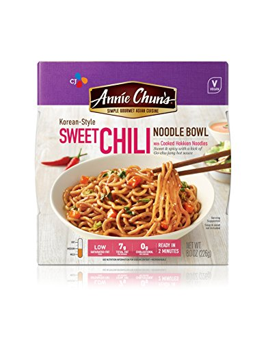 Annie Chun's Sweet Chili Noodle Bowl, Vegan, 8-oz (Pack of 6), Korean-Style, Instant Asian Ready Meal - Udon Noodle Bowl