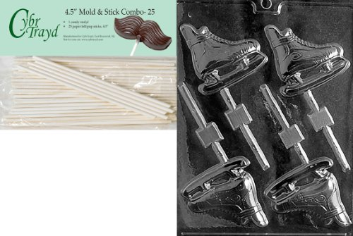 Cybrtrayd 45St25-S033 Ice Skates Lolly Sports Chocolate Candy Mold with 25-Pack 4.5-Inch Lollipop Sticks (Chocolate Molds Skate)
