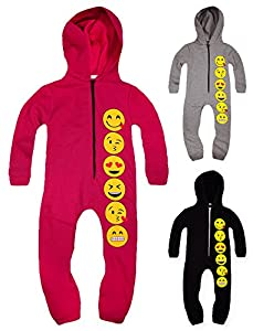 Girls Full Length Zip Front Emoji Onesie