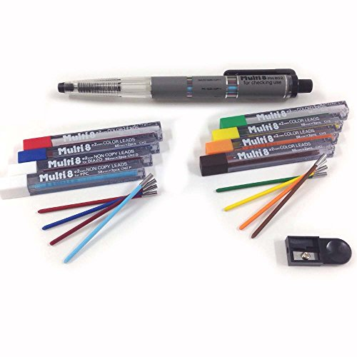 Pentel Pencil Lead Holder and Lead Set, Multi 8 Set (PH802ST) (Pentel Set Color Pen)