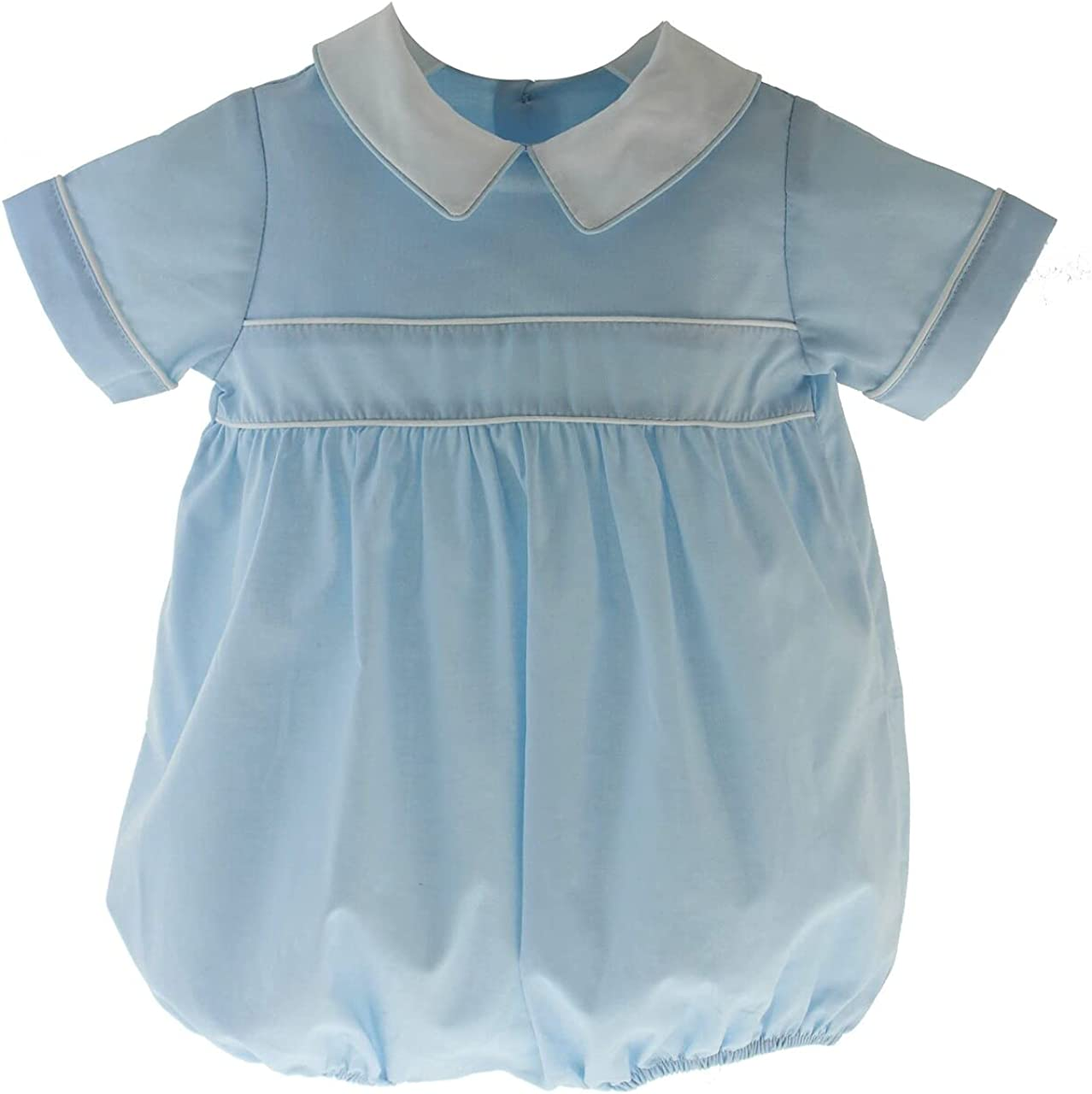 Baby Boys Vintage Style Bubble Romper Blessing Outfit Boys Baptism Outfit Baby Blue Linen Romper Dedication Outfit Baby Shower Gift