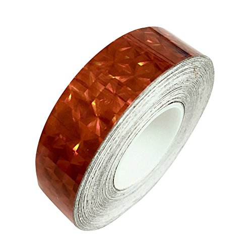 Braceus 1.2cm x 18m Square Glitter Sparkle Holographic Prism Lure Tape for Gift Packing (Red)
