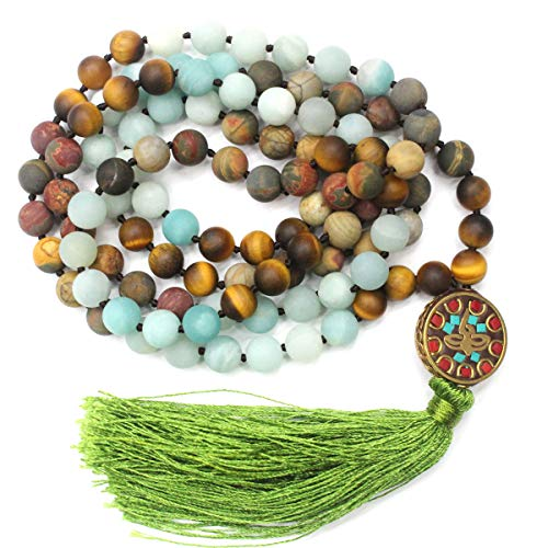 Tacool 8mm Mala Beads Necklace Natural Gemstone Meditation Statement Necklace Japa Yoga Rosary Prayer Charm Beaded Tassel Necklace (Multi-Stones)