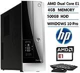 2016 Newest HP Pavilion Slimline 400 Desktop Computer (AMD Dual Core APU E-Series1.4GHz Processor), 4GB RAM, 500GB HDD, DVDRW, WIFI, Windows 10 Professional (Certified Refurbished)