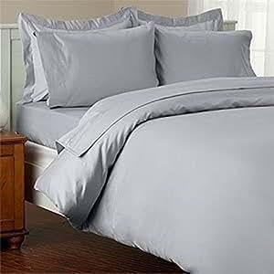 1pieza sábana bajera + 2piezas Funda de almohada–-- 500hilos gris plata sólido Uk solo 100% algodón egipcio Extra profundo bolsillo (8Inche)–as1