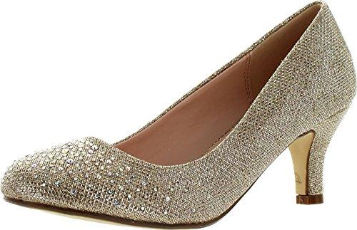 Bonnibel Wonda-1 Womens Round Toe Low Heel Glitter Slip On Dress Pumps,Champagne,10
