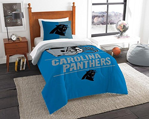Carolina Panthers - 2 Piece TWIN Size Printed Comforter Set - Entire Set Includes: 1 Twin Comforter (64