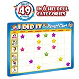 "Kids Reward Chores Chart - 49 Behavioral Tasks in 6 Exciting Categories. ""Thick Magnetic Board"""