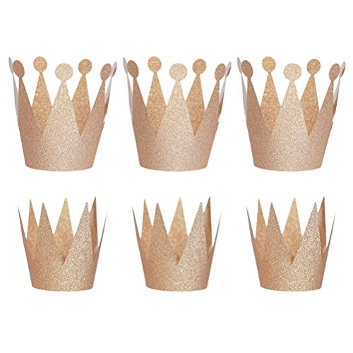 6PCS Glitter Birthday Crown Hats Party Hats Princess Prince Crowns for Kids and Adults Party Decorations (Champagne) ()