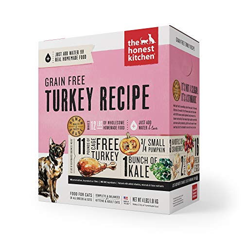 The Honest Kitchen Human Grade Dehydrated Grain Free Turkey Cat Food 4 lb - Grace