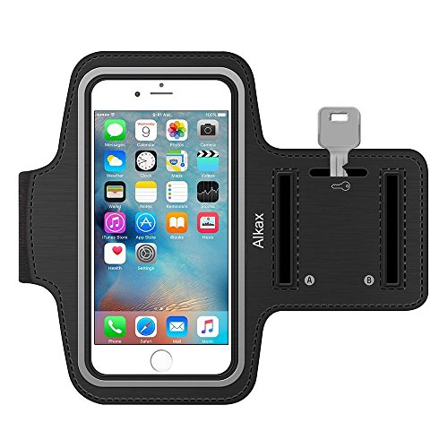 iPhone 6S Armband, iPhone 6 Armband, iPhone SE Armband,iPhone 5S Armband,Alkax Sports Exercise Water Resistant Armband Running Pouch Touch With Key Holder For hiking,Walking+One Free Stylus Pen(Black)