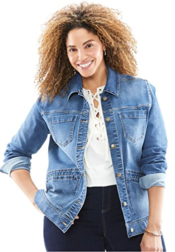 Women's Plus Size Denim Jacket Light Medium (Denim Stretch Blazer)