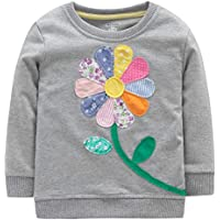 Fiream Girls Cotton Crewneck Cute Embroidery Sweatshirts