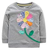 Fiream Girls Cotton Crewneck Cute Embroidery Sweatshirts(120Grey,7)
