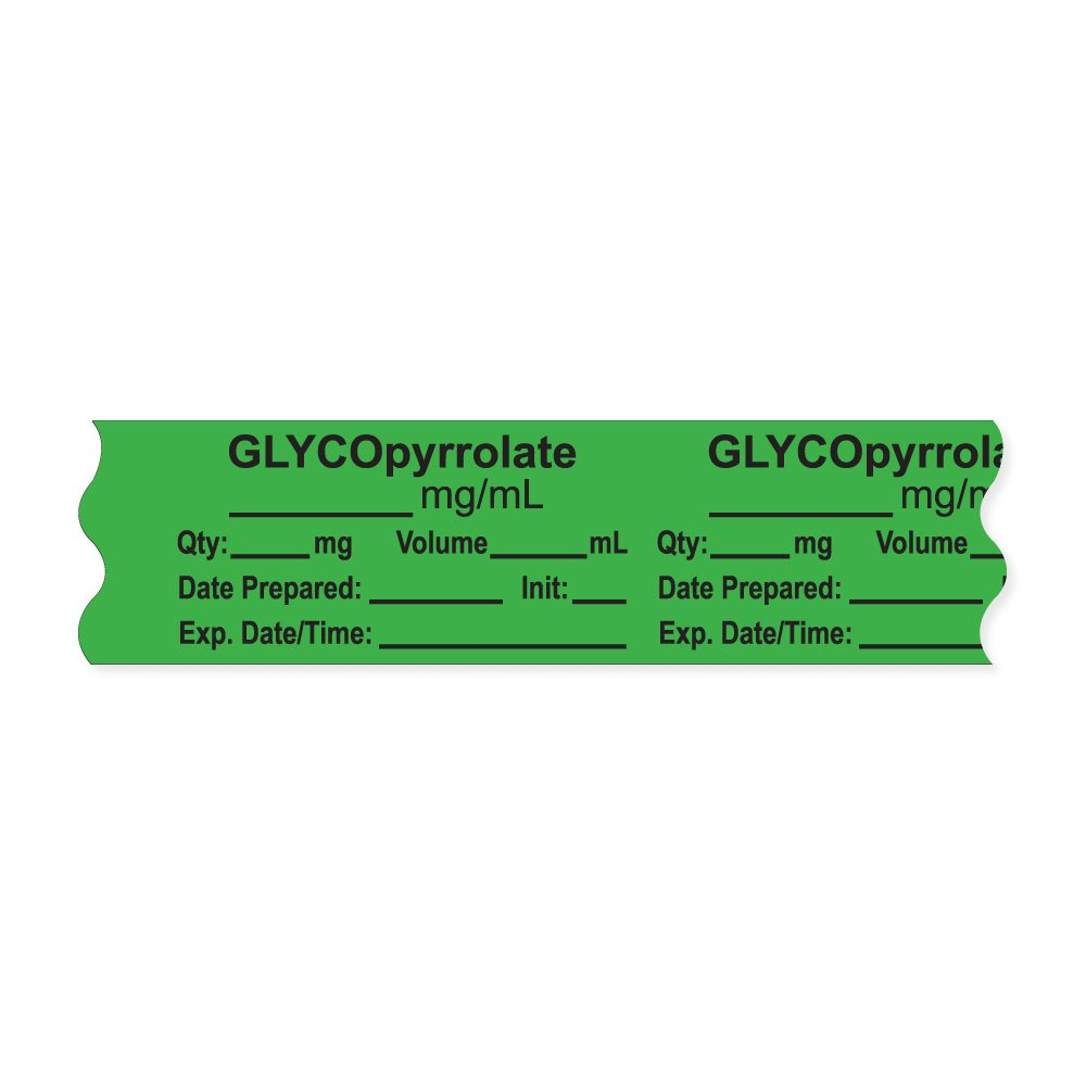 PDC Healthcare AN-2-9 Anesthesia Tape with Exp. Date, Time, and Initial, Removable, ''GLYCOpyrrolate mg/mL'', 1'' Core, 3/4'' x 500'', 333 Imprints, 500 Inches per Roll, Light Green (Pack of 500)