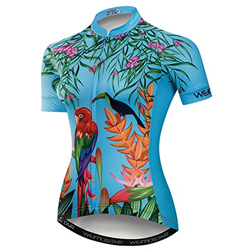 Women's Short Sleeve Cycling Jersey Bike Top Jacket Bicycle Shirt Quick Dry Breathable Mountain Clothing Blue Parrot Size M