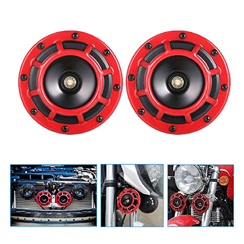 LIUYE 12V Universal Vehicle Horn High Tone and Low Tone Metal Twin Horn Kit with Red Protective Grill//Bracket Suitable for cars motorcycles etc,2 Horns