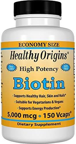 Healthy Origins Biotin 5,000 mcg (USP Grade), 150 Veggie Caps