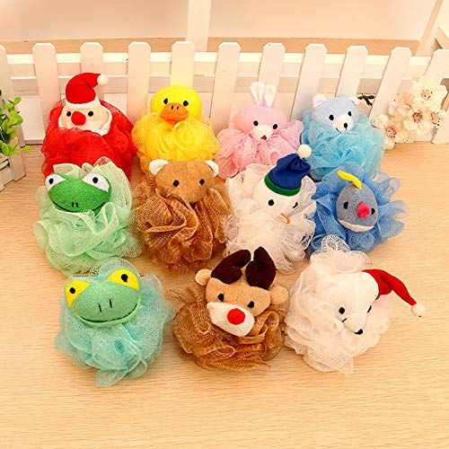 everd1487HH Durable Cute Animal Bear Frog Dog Kids Children Lovely Shower Bath Mesh Sponge Puff Ball Toy Random Color