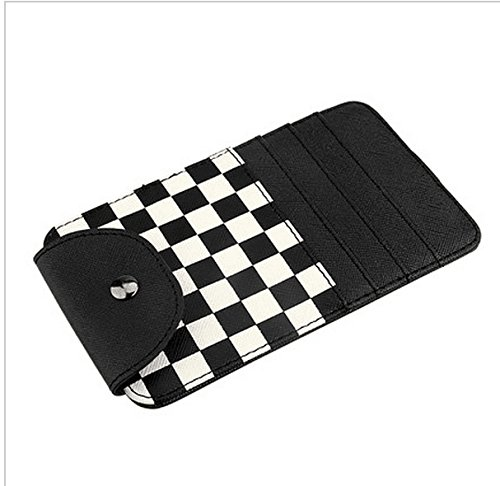 Black Checkered Checkerboard Pattern Car Sun Shade Visor Slot Card Bag Pocket Pouch Holder Case For Mini Cooper F55 F56 R50 R52 R53 R55 R56 R60 - Cars Checkerboard