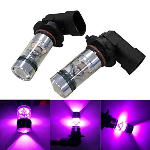 Alonea 2X H10 9005 9006 100W 20LED HID 2323 Fog Driving DRL Light Bulbs (Pink)
