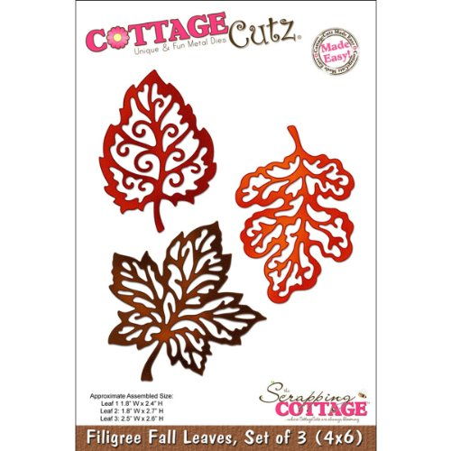 CottageCutz Die Cuts, 4 by 6-Inch, 3 Filigree Fall Leaves Made Easy