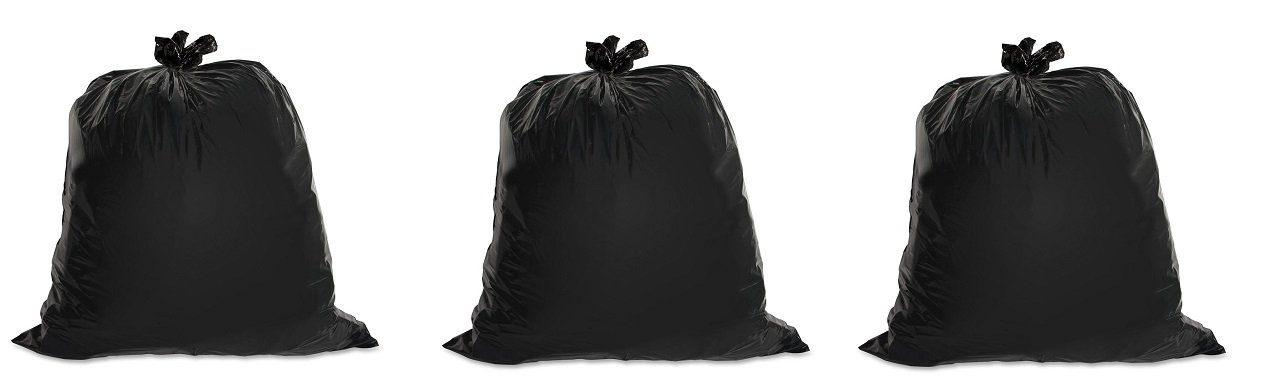 Genuine Joe GJO01534 Heavy Duty Low-Density Puncture Resistant Trash Bag, 45 gallon Capacity, 46'' Length x 39'' Width x 1.50 mil Thickness, Black (Box of 50) (3-(Box of 50))