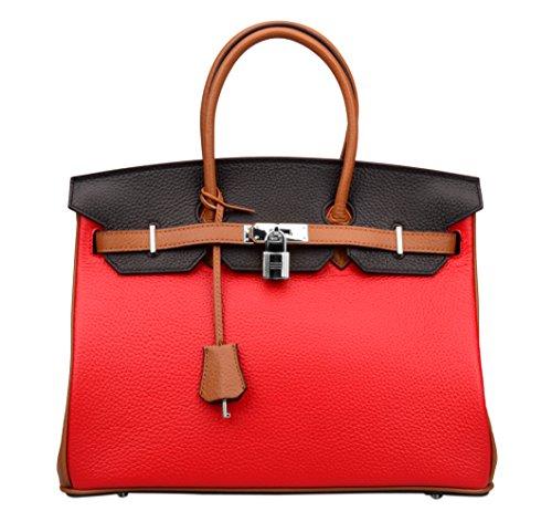 Ainifeel Women's Padlock Handbags with Silver Hardware (30 cm, Red/brown/black) Image