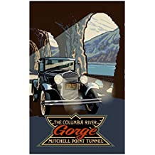 """Northwest Art Mall Mitchell Point Tunnel Columbia River Gorge Oregon Travel Art Print Poster by Paul A. Lanquist (12"""" x 18"""")"""